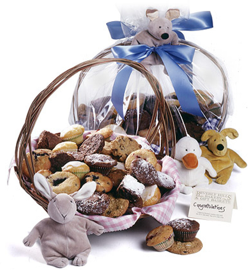 Stand-out from the flower bouquet crowd with our gorgeous new baby gift baskets.  sc 1 st  Beverly Hills Bakery & New baby gifts baby shower gifts u0026 new mum gifts delivery in London